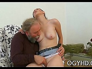 Old grey fart licking young beauty