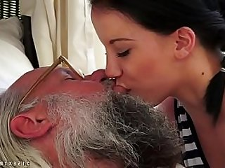 Old and young deep kissing