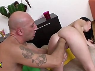 Young with fat pussy and big mouth, fucks with big dildos