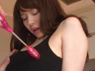 Yui Uehara gets jizz on face after a nasty porn play on cam