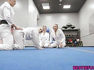 Karate Teens Trick Teacher Into Hot Foursome