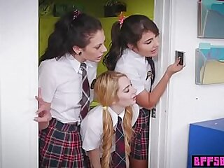 Naughty teens in school uniform tasted ther hot teachers pussy