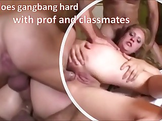 Teen does gangbang hard with teacher and classmates DP, DP anal, deep throat and cum on face - complete on RED