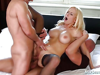 Lusty blonde cougar gets double penetrated