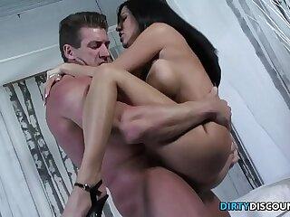 Ass rimmed busty babe