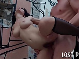 Horny Teen Outdoor Rough Sex and Public Deep Blowjob in Lost Place