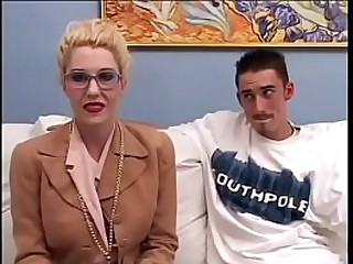 Young thin dude hotly fucked an adult blonde whore in stockings
