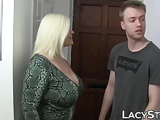 Lascivious GILF bouncing on young cock